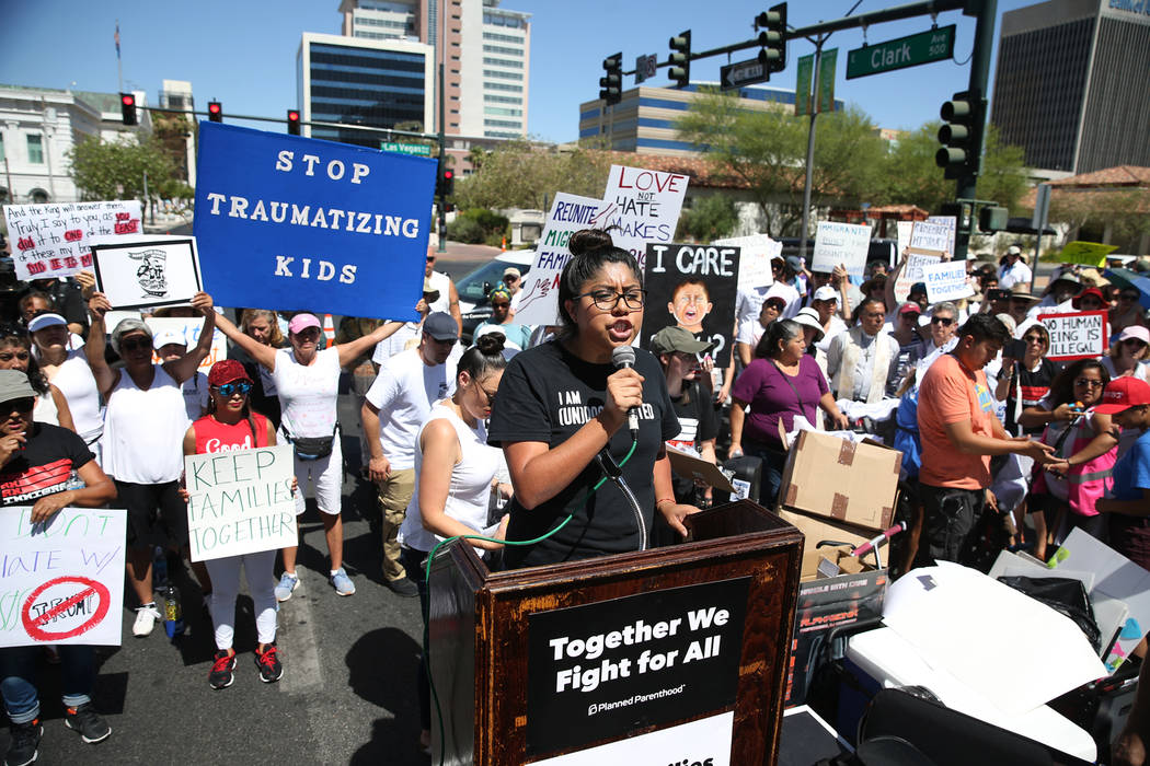 Erika Castro, organizer for the Progressive Leadership Alliance of Nevada, speaks during a rally against the separation of immigrant families outside of the Lloyd George U.S. Courthouse in Las Veg ...