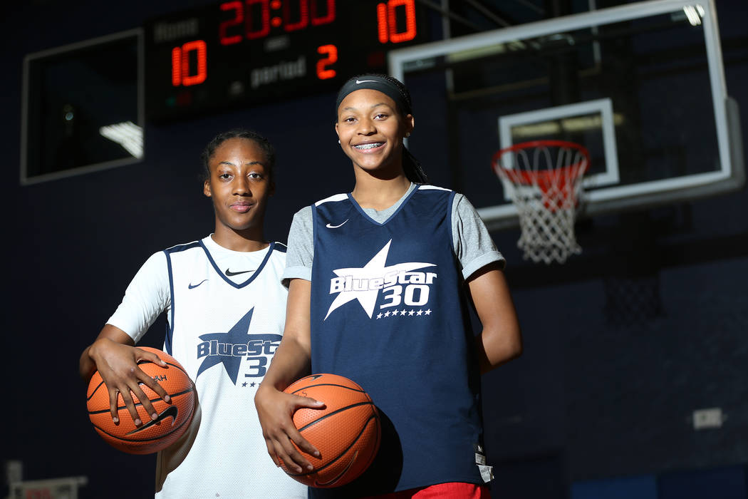 Taylor Bigby, left, 15, and Aaliyah Gayles, 14, pose at the Tarkanian Basketball Academy in Las Vegas, Saturday, June 30, 2018. Erik Verduzco Las Vegas Review-Journal @Erik_Verduzco