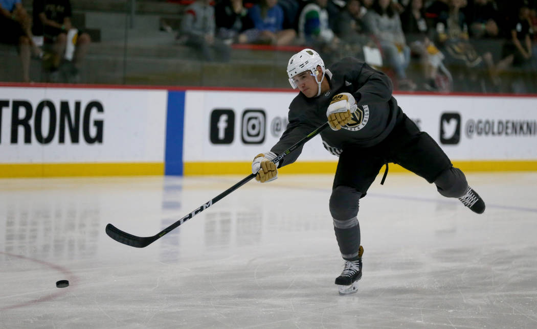 Vegas Golden Knights defender Zach Whitecloud shoots during the first day of development camp at City National Arena in Las Vegas Tuesday, June 26, 2018. K.M. Cannon Las Vegas Review-Journal @KMCa ...