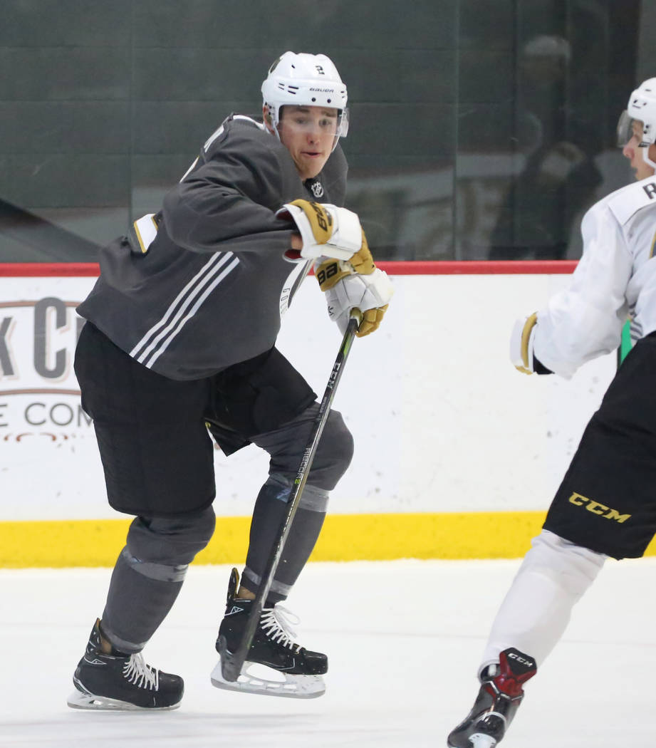 Vegas Golden Knights prospect Zach Whitecloud skates during scrimmage at Golden Knights development camp at City Center Arena on Friday, June 29, 2018, in Las Vegas. Bizuayehu Tesfaye/Las Vegas Re ...