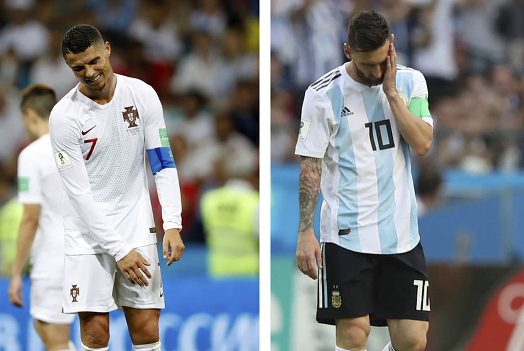 This combo photo shows Argentina's Lionel Messi, right, and Portugal's Cristiano Ronaldo reacting during their round of 16 matches respectively against France and Uruguay, at the 2018 soccer World ...