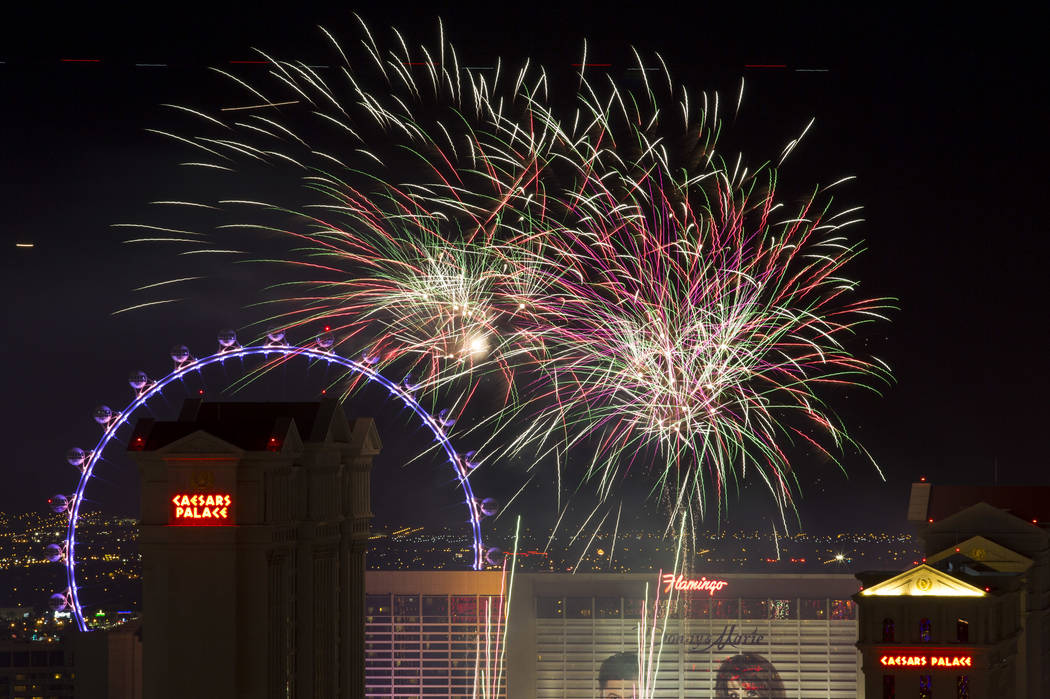 A fireworks show goes off from the Julius Tower at Caesars Palace on The Strip to kick off a week long of Fourth-of-July festivities as seen from APEX Social Club atop the Palms in Las Vegas, Satu ...