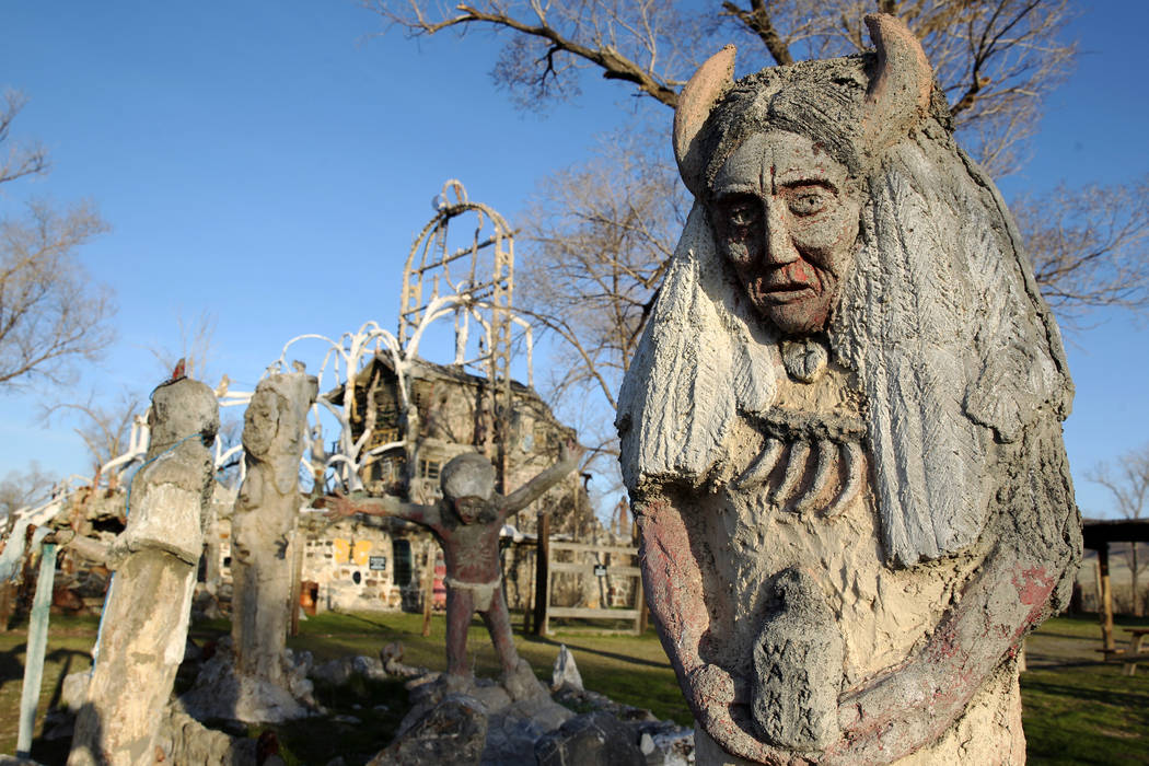 Statues at Nevada historical site Thunder Mountain Monument near Imlay Monday, April 9, 2018. The five-acre site adjacent to Interstate 80 between Lovelock and Winnemucca is the creation of the la ...