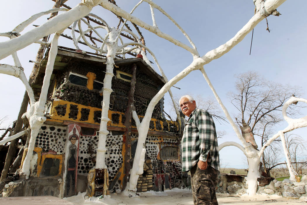 Caretaker Fred Lewis on the second floor of the main structure and living quarters at Nevada historical site Thunder Mountain Monument near Imlay Tuesday, April 10, 2018. K.M. Cannon Las Vegas Rev ...