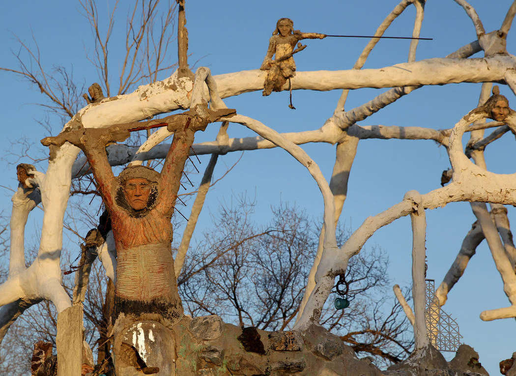 Statues at the main structure and living quarters at Nevada historical site Thunder Mountain Monument near Imlay Monday, April 9, 2018. K.M. Cannon Las Vegas Review-Journal @KMCannonPhoto