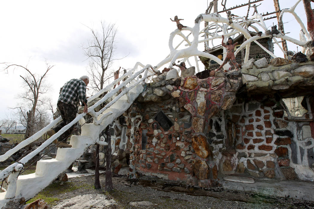 Caretaker Fred Lewis walks up the staircase at the main structure and living quarters at Nevada historical site Thunder Mountain Monument near Imlay Tuesday, April 10, 2018. K.M. Cannon Las Vegas ...