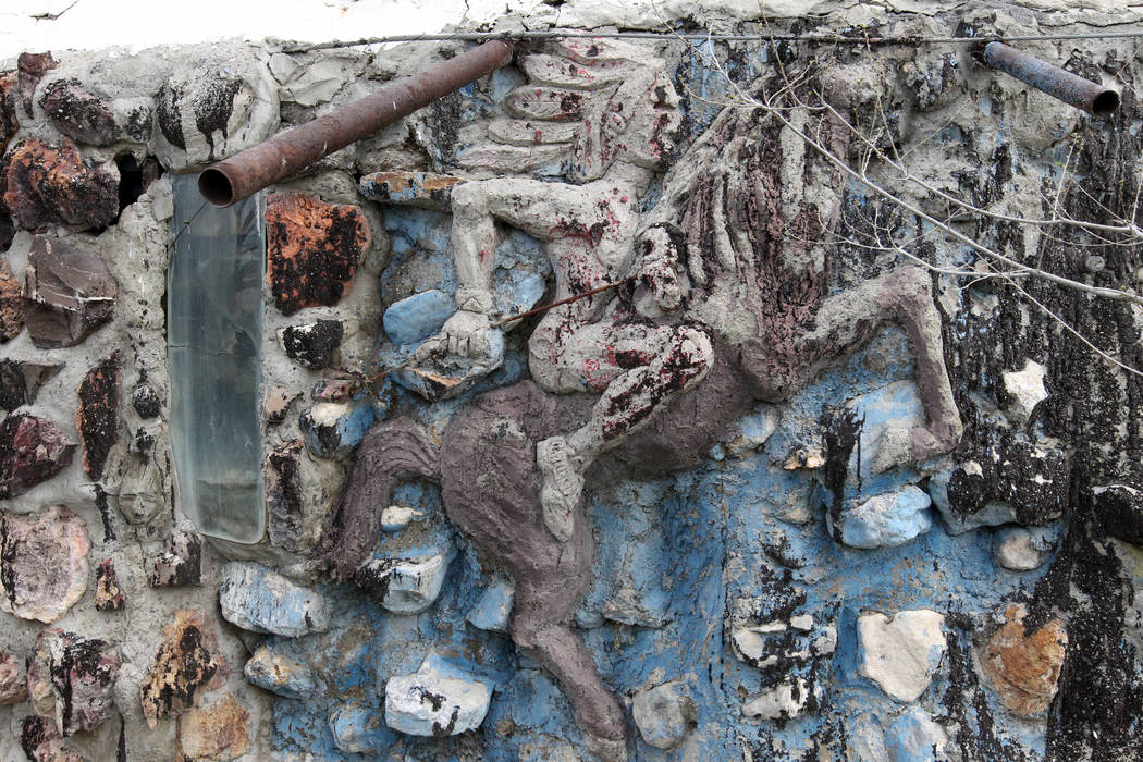 A Native American riding a horse is incorporated on a wall on the main structure and living quarters at Nevada historical site Thunder Mountain Monument near Imlay Tuesday, April 10, 2018. K.M. Ca ...