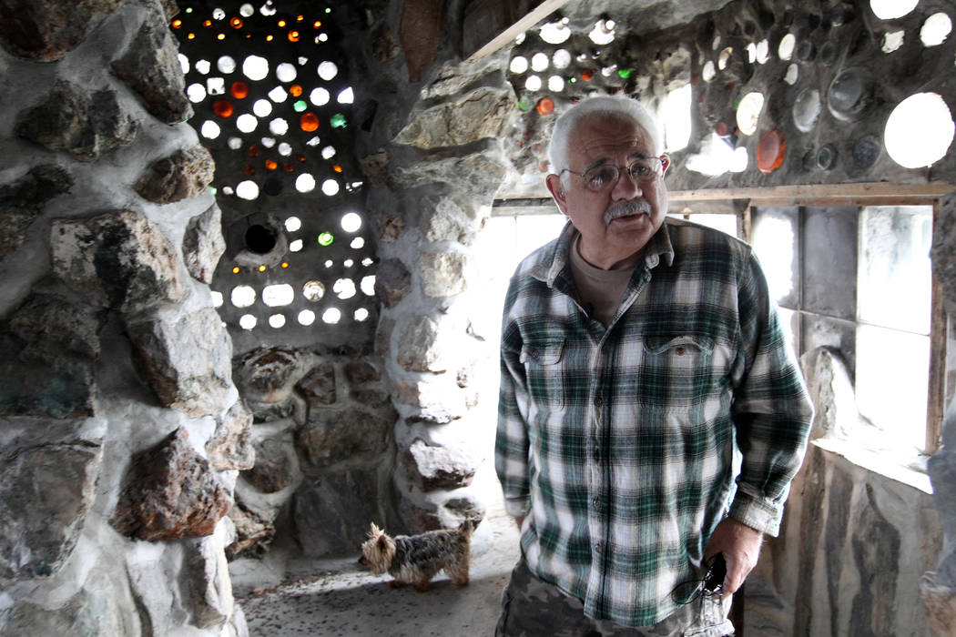 Caretaker Fred Lewis in the main structure and living quarters at Nevada historical site Thunder Mountain Monument near Imlay Tuesday, April 10, 2018. K.M. Cannon Las Vegas Review-Journal @KMCanno ...