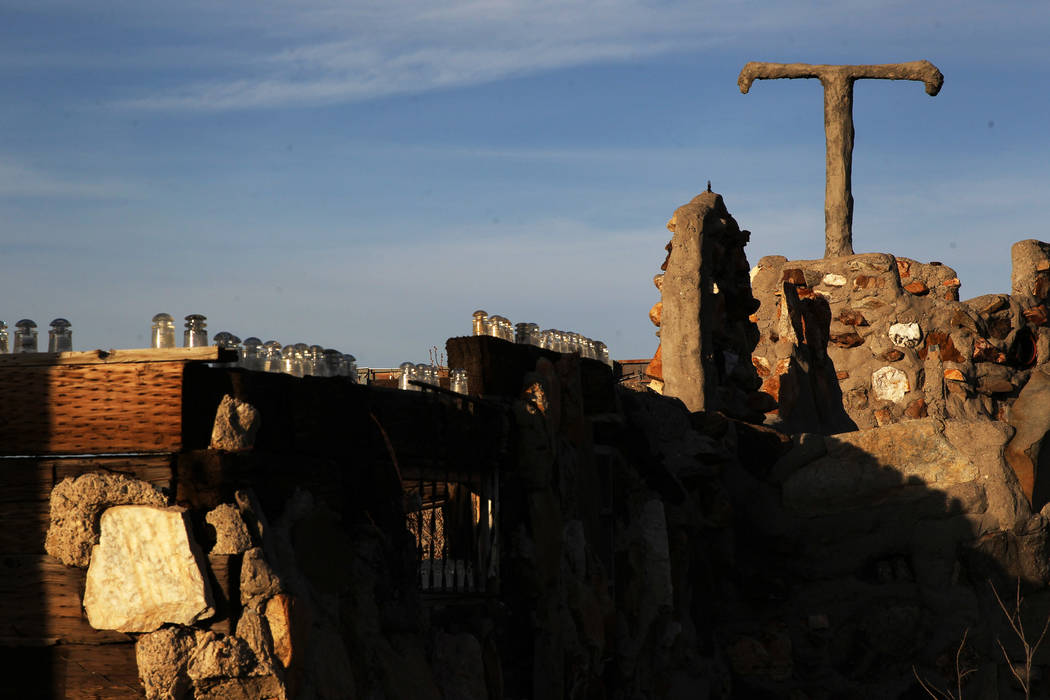 The remains of the Hostel at Nevada historical site Thunder Mountain Monument near Imlay Monday, April 9, 2018. K.M. Cannon Las Vegas Review-Journal @KMCannonPhoto