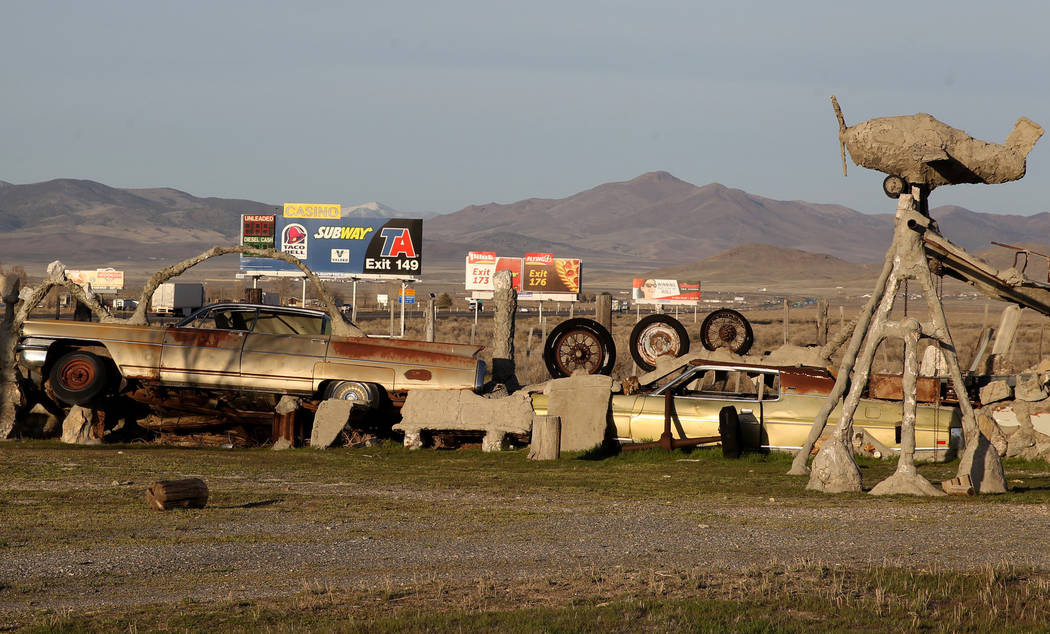 A car and other found items are incorporated into a fence at Nevada historical site Thunder Mountain Monument near Imlay Monday, April 9, 2018. K.M. Cannon Las Vegas Review-Journal @KMCannonPhoto