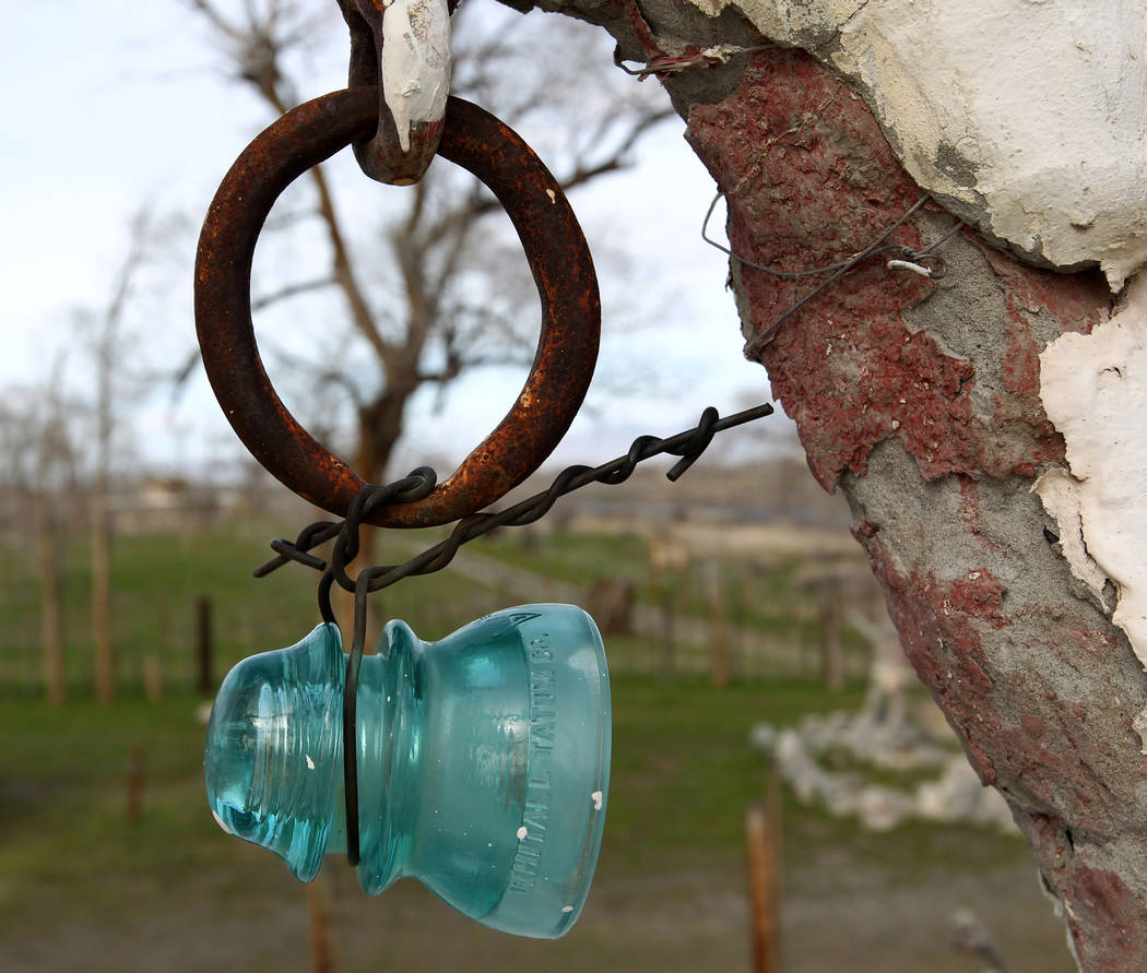 Found items incorporated into the second floor of the main structure and living quarters at Nevada historical site Thunder Mountain Monument near Imlay Tuesday, April 10, 2018. K.M. Cannon Las Veg ...