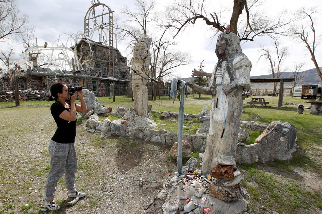 Tourist Ashley Jensen at Nevada historical site Thunder Mountain Monument near Imlay Tuesday, April 10, 2018. K.M. Cannon Las Vegas Review-Journal @KMCannonPhoto