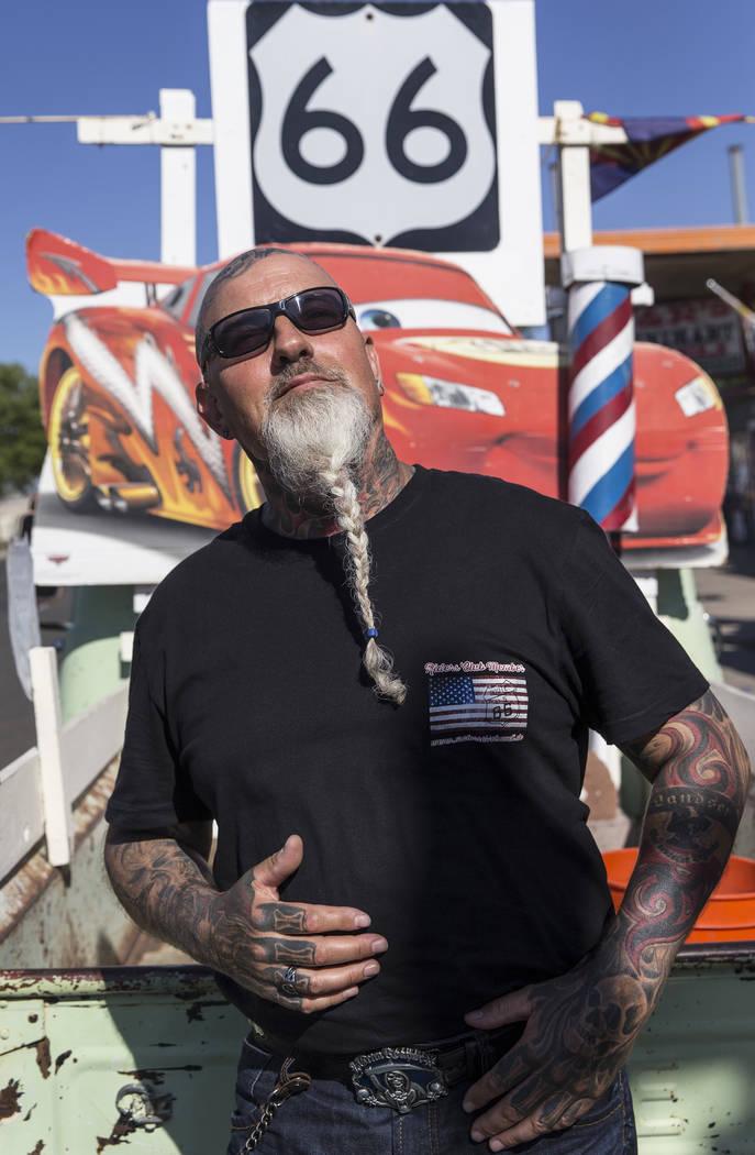 German tourist Detlef Gutknecht outside Delgadillo's Route 66 Gift Shop on Wednesday, May 16, 2018, in Seligman, AZ. Benjamin Hager Las Vegas Review-Journal @benjaminhphoto