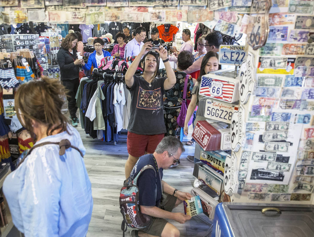 Customers shop for souvenirs at Delgadillo's Route 66 Gift Shop on Wednesday, May 16, 2018, in Seligman, AZ. Benjamin Hager Las Vegas Review-Journal @benjaminhphoto