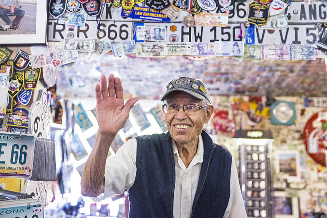 Angel Delgadillo, 91, known as the Angel of Route 66, greets customers on Wednesday, May 16, 2018, at Delgadillo's Route 66 Gift Shop, in Seligman, AZ. Benjamin Hager Las Vegas Review-Journal @ben ...
