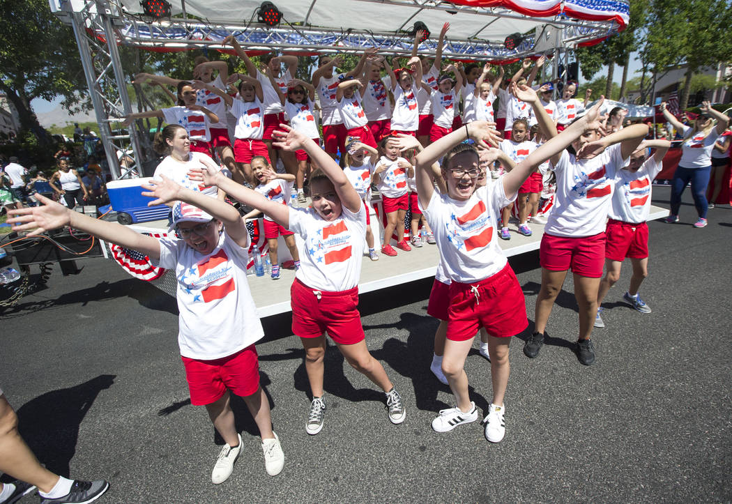 Members of the Broadway Kids Academy Performance Company perform during the Summerlin Council Patriotic Parade in Las Vegas on Wednesday, July 4, 2018. Richard Brian Las Vegas Review-Journal @vega ...