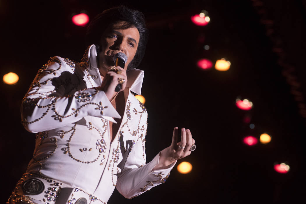 Elvis Presley tribute artist Dwight Icenhower from Orlando, Florida, performs at the Images of the King Tribute Artist Contest at Sam's Town hotel-casino on Sunday, July 17, 2016. (Martin S. Fuent ...
