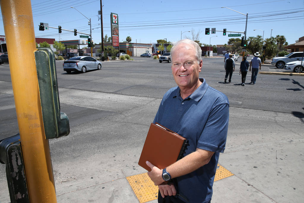 Timothy Bungum, UNLV professor in the School of Community Health Sciences department, poses for a photo at the intersection of Maryland Parkway and Harmon Avenue in Las Vegas, Wednesday, June 27, ...