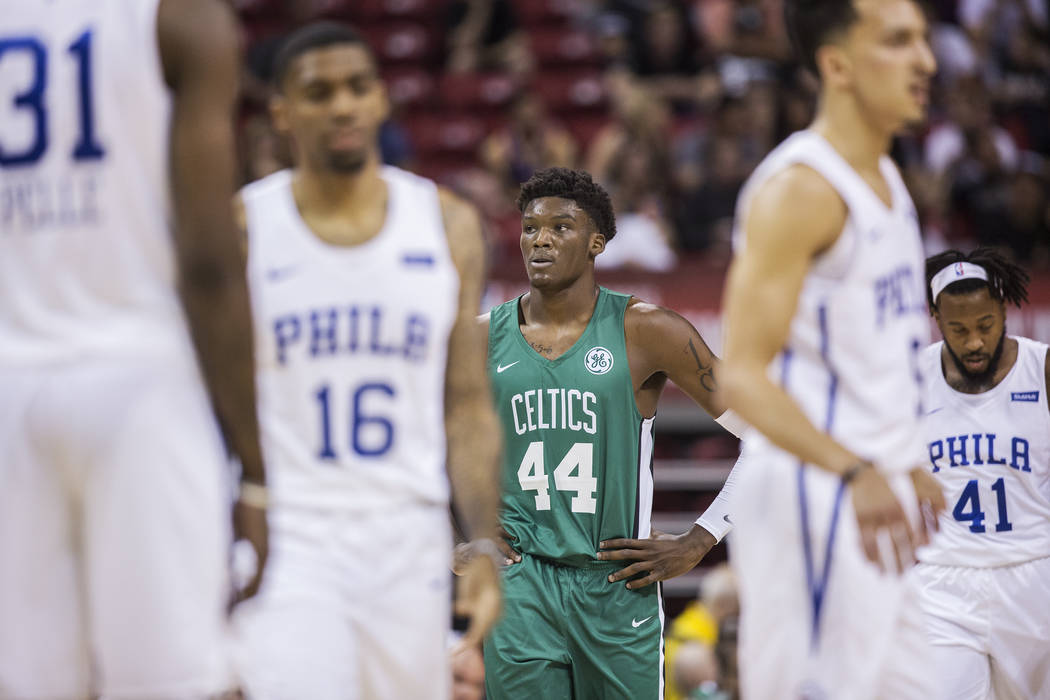 Celtics center Robert Williams (44) waits for a play call from the Boston bench during their game with the Philadelphia 76ers during NBA Summer League on Friday, July 6, 2018, at the Thomas & ...