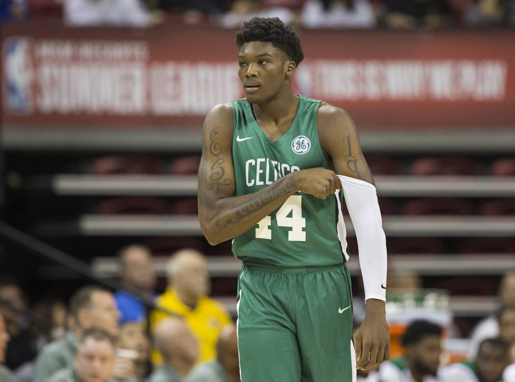 Celtics center Robert Williams (44) adjusts his arm sleeve during Boston's game with the Philadelphia 76ers during NBA Summer League on Friday, July 6, 2018, at the Thomas & Mack Center, in La ...