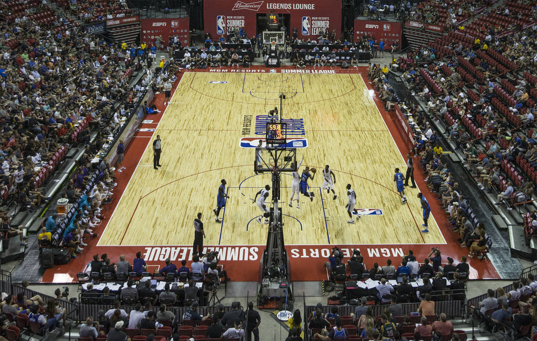 The Charlotte Hornets and the Oklahoma City Thunder play during NBA Summer League on Friday, July 6, 2018, at the Thomas & Mack Center, in Las Vegas. Benjamin Hager Las Vegas Review-Journal @b ...