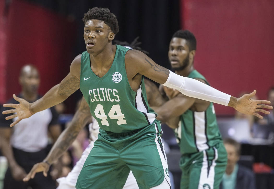 Celtics center Robert Williams (44) plays defense during Boston's game with the Philadelphia 76ers during NBA Summer League on Friday, July 6, 2018, at the Thomas & Mack Center, in Las Vegas. ...