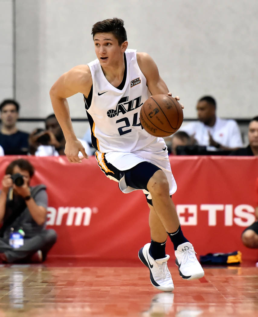 Utah Jazz guard Grayson Allen brings the ball up court against the Portland Trail Blazer during an NBA summer league basketball game Saturday, July 7, 2018, in Las Vegas. David Becker/Las Vegas Re ...
