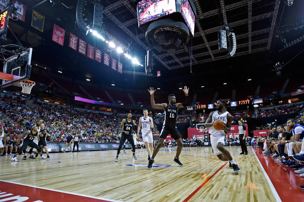 San Antonio Spurs forward Chumezie Metu (10) defends against Indiana Pacers forward Alex Poythress during an NBA summer league basketball game Saturday, July 7, 2018, in Las Vegas. David Becker/La ...