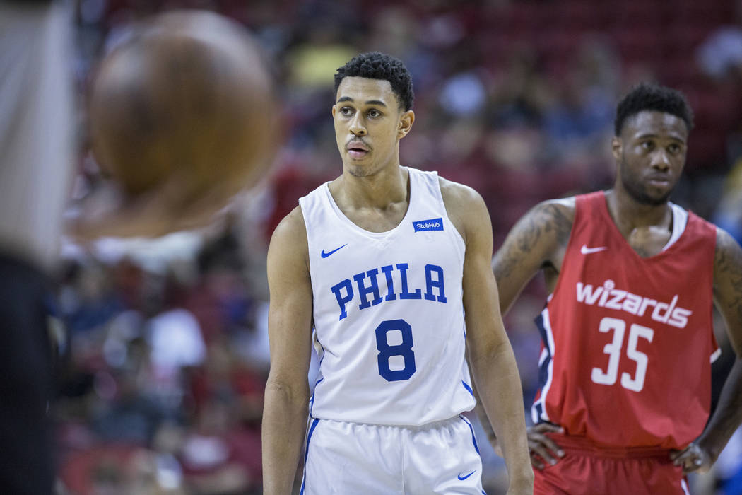 Philadelphia 76ers guard Zhaire Smith (8) waits for a free throw attempt with Washington Wizards guard Tiwian Kendley (35) during the NBA Summer League on Monday, July 9, 2018, at the Thomas &amp ...