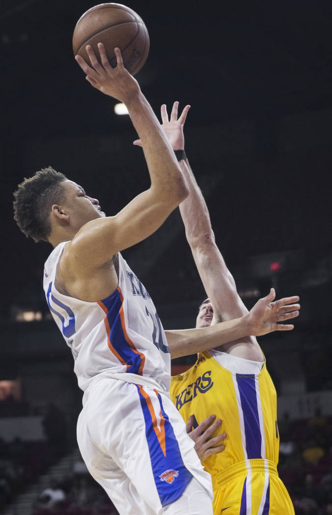 New York Knicks forward Kevin Knox (20) shoots over Los Angeles Lakers guard Alex Caruso (4) in the fourth quarter during the NBA Summer League on Tuesday, July 10, 2018, at the Thomas & Mack ...