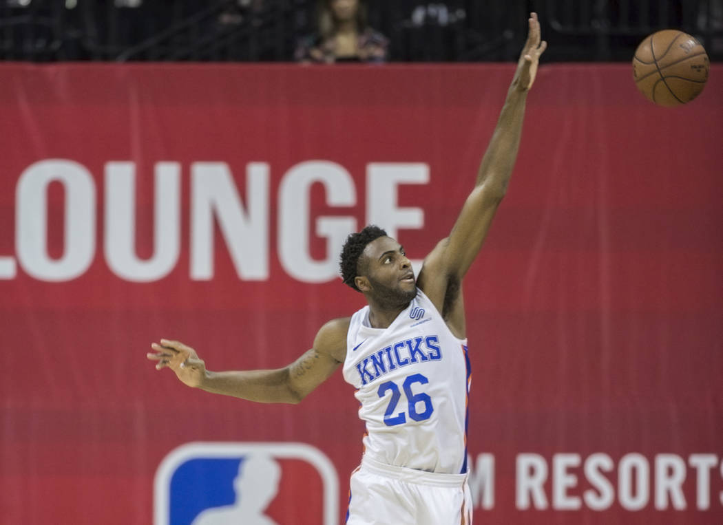 New York Knicks center Mitchell Robinson (26) leaps to block the shot of a Los Angeles Lakers player in the first quarter during the NBA Summer League on Tuesday, July 10, 2018, at the Thomas &amp ...