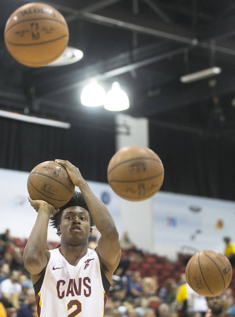 Cavaliers guard Collin Sexton (2) warms up before the start of Cleveland's NBA Summer League game with the Indiana Pacers on Monday, July 9, 2018, at Cox Pavilion, in Las Vegas. Benjamin Hager Las ...