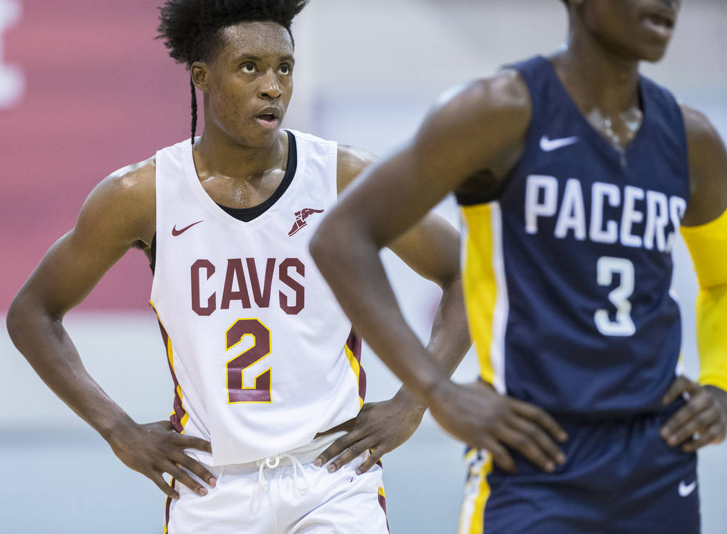 Cleveland Cavaliers guard Collin Sexton (2) matches up with Indiana Pacers guard Aaron Holiday (3) in the first quarter during the NBA Summer League on Monday, July 9, 2018, at Cox Pavilion, in La ...
