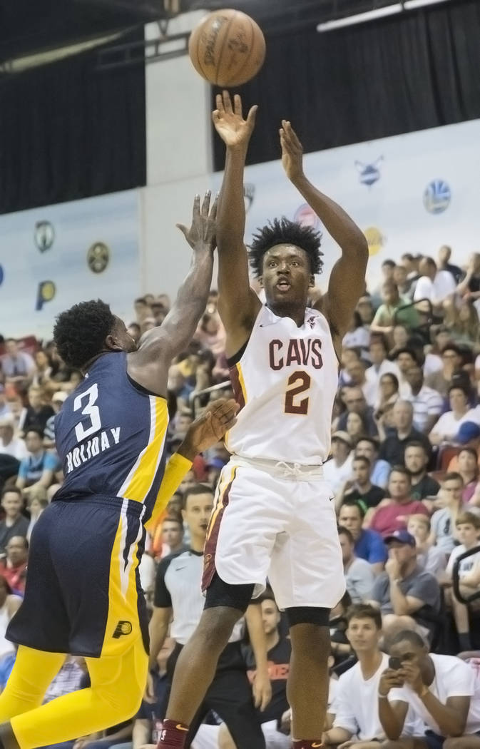 Cleveland Cavaliers guard Collin Sexton (2) shoots over Indiana Pacers forward Alize Johnson (24) in the first quarter during the NBA Summer League on Monday, July 9, 2018, at Cox Pavilion, in Las ...