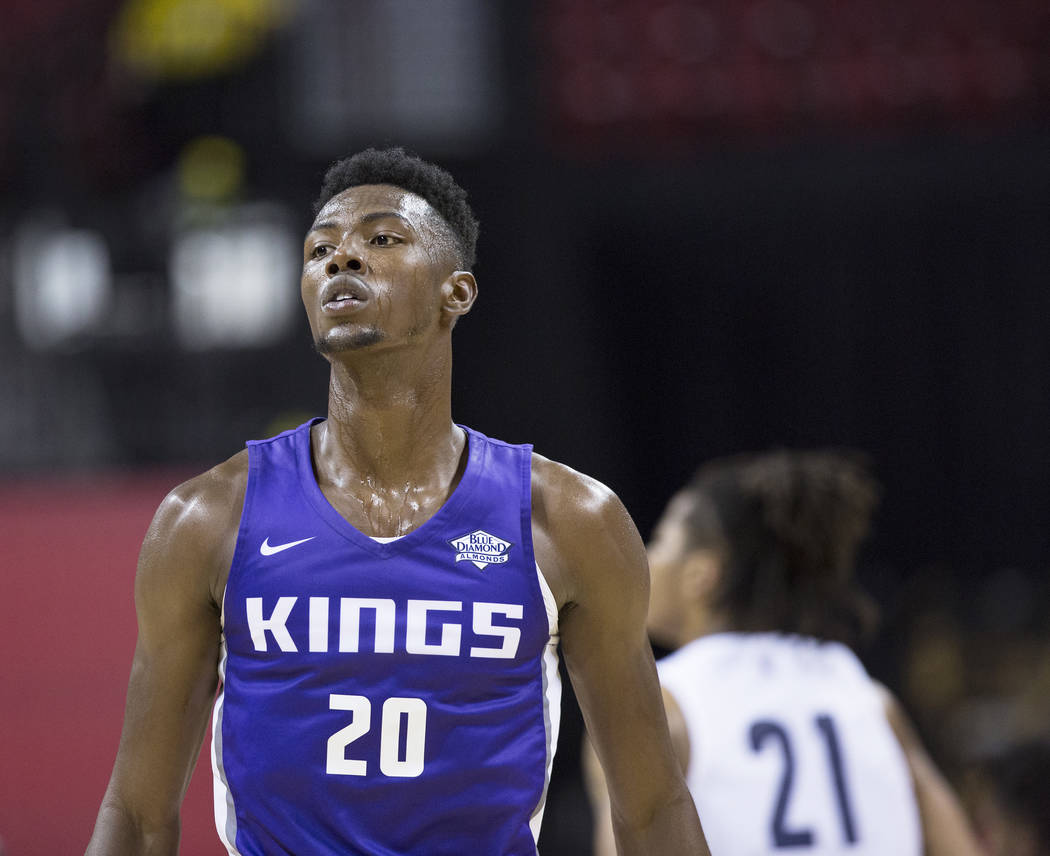 Kings forward Harry Giles (20) walks down court during the first quarter of Sacramento's NBA Summer League game with the Memphis Grizzlies on Tuesday, July 10, 2018, at the Thomas & Mack Cente ...