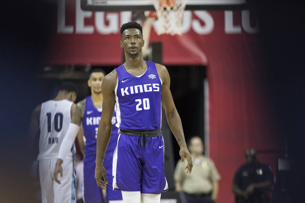 Kings forward Harry Giles (20) walks down court during the first quarter during Sacramento's NBA Summer League game with the Memphis Grizzlies on Tuesday, July 10, 2018, at the Thomas & Mack C ...