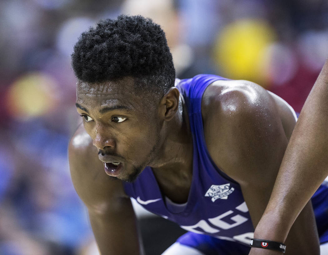 Kings forward Harry Giles (20) waits for a free throw attempt in the second quarter during Sacramento's NBA Summer League game with the Memphis Grizzlies on Tuesday, July 10, 2018, at the Thomas & ...