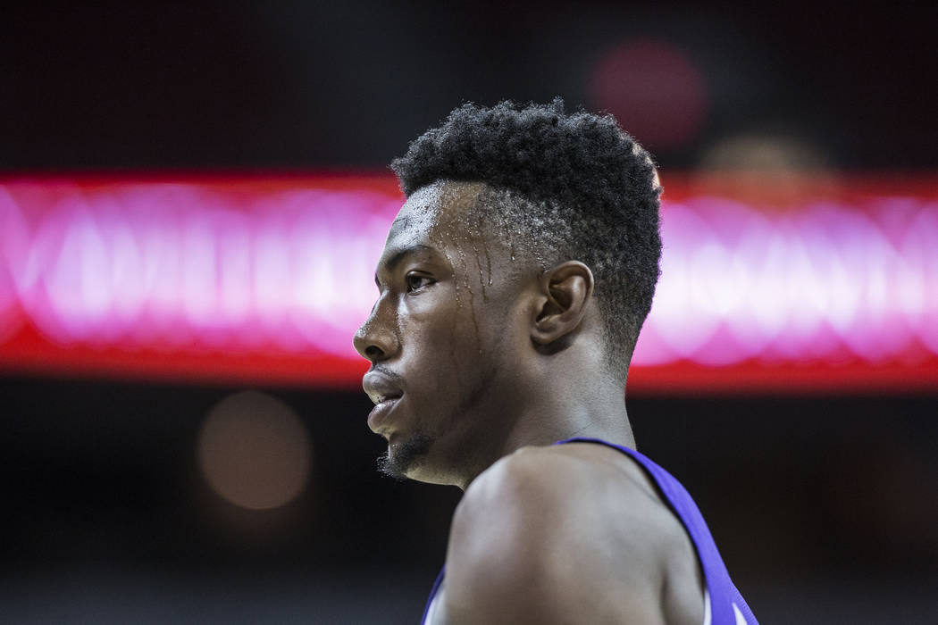 Kings forward Harry Giles (20) walks down court during the second quarter of Sacramento's NBA Summer League game with the Memphis Grizzlies on Tuesday, July 10, 2018, at the Thomas & Mack Cent ...