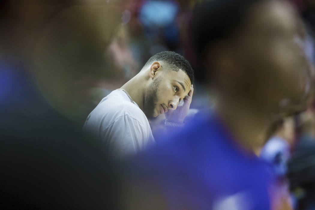 76ers point guards Ben Simmons watches Philadelphia's NBA Summer League game with the Phoenix Suns on Thursday, July 12, 2018, at the Thomas & Mack Center, in Las Vegas. Benjamin Hager Las Veg ...