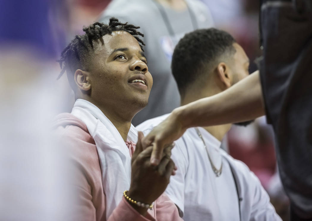 76ers point guards Markelle Fultz shakes hands with fans during Philadelphia's NBA Summer League game with the Phoenix Suns on Thursday, July 12, 2018, at the Thomas & Mack Center, in Las Vega ...