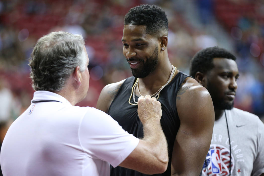 Cleveland Cavaliers Tristan Thompson at the Thomas & Mack Center in Las Vegas during the NBA Summer League tournament, Saturday, July 14, 2018. Erik Verduzco Las Vegas Review-Journal @Erik_Ver ...