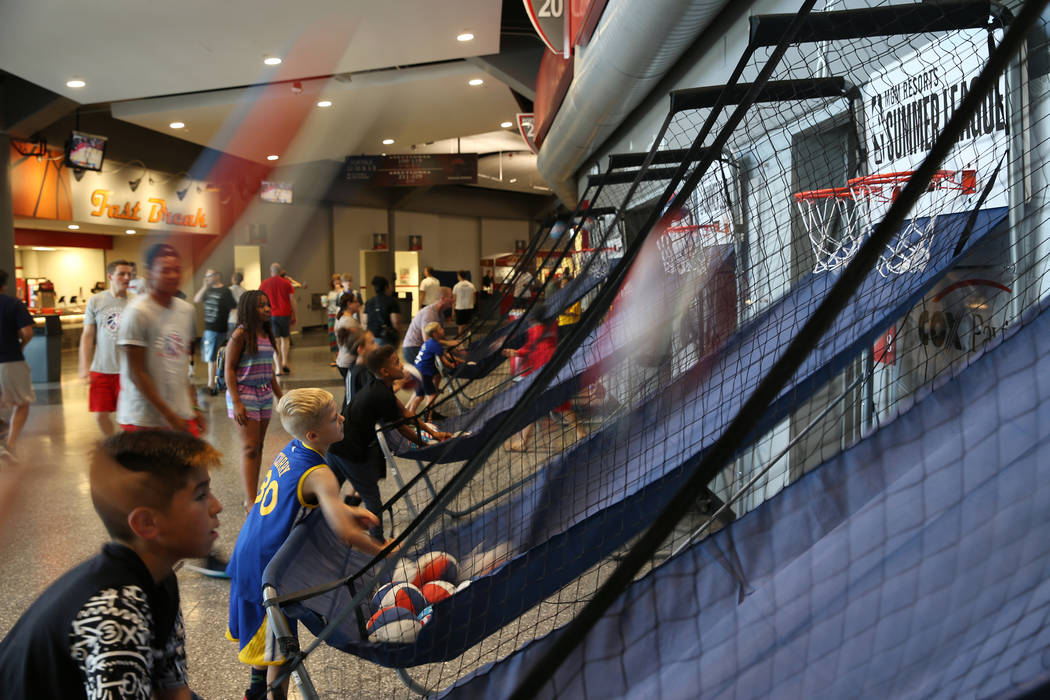 People shoots basketballs during the NBA Summer League at the Thomas & Mack Center in Las Vegas, Saturday, July 14, 2018. Erik Verduzco Las Vegas Review-Journal @Erik_Verduzco