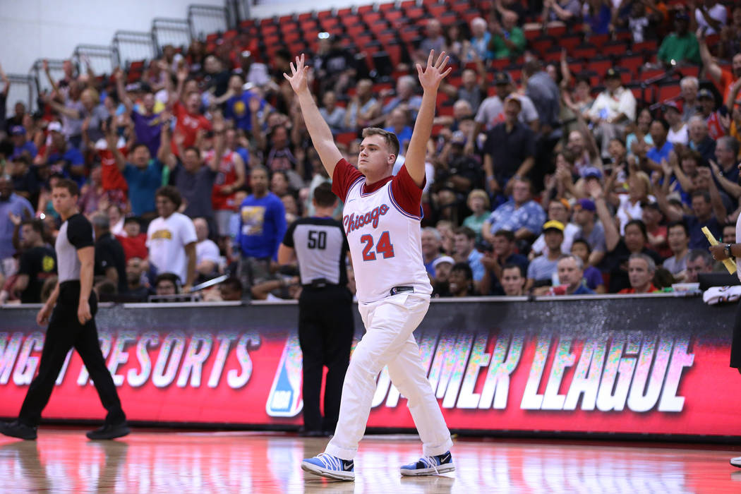 Alex Pottorff of Atlanta reacts after making a half court shot during the NBA Summer League at Cox Pavilion in Las Vegas, Saturday, July 14, 2018. Erik Verduzco Las Vegas Review-Journal @Erik_Verduzco
