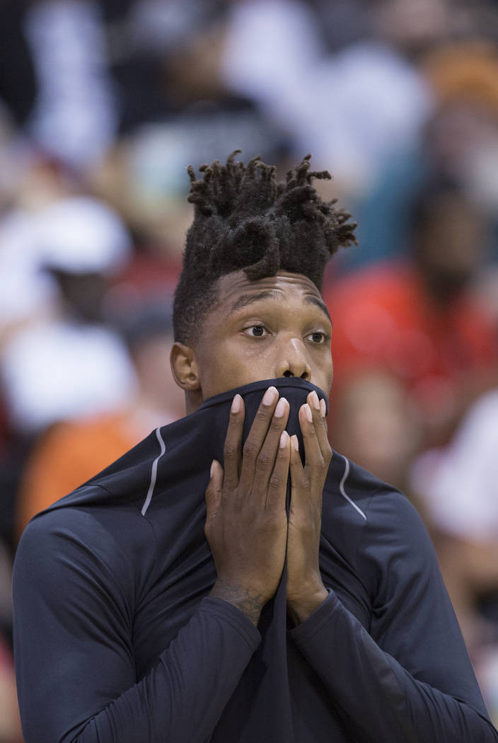Spurs guard Lonnie Walker (18) warms up before the start of San Antonio's NBA Summer League game with the Portland Trail Blazers on Tuesday, July 10, 2018, at Cox Pavilion, in Las Vegas. Benjamin ...