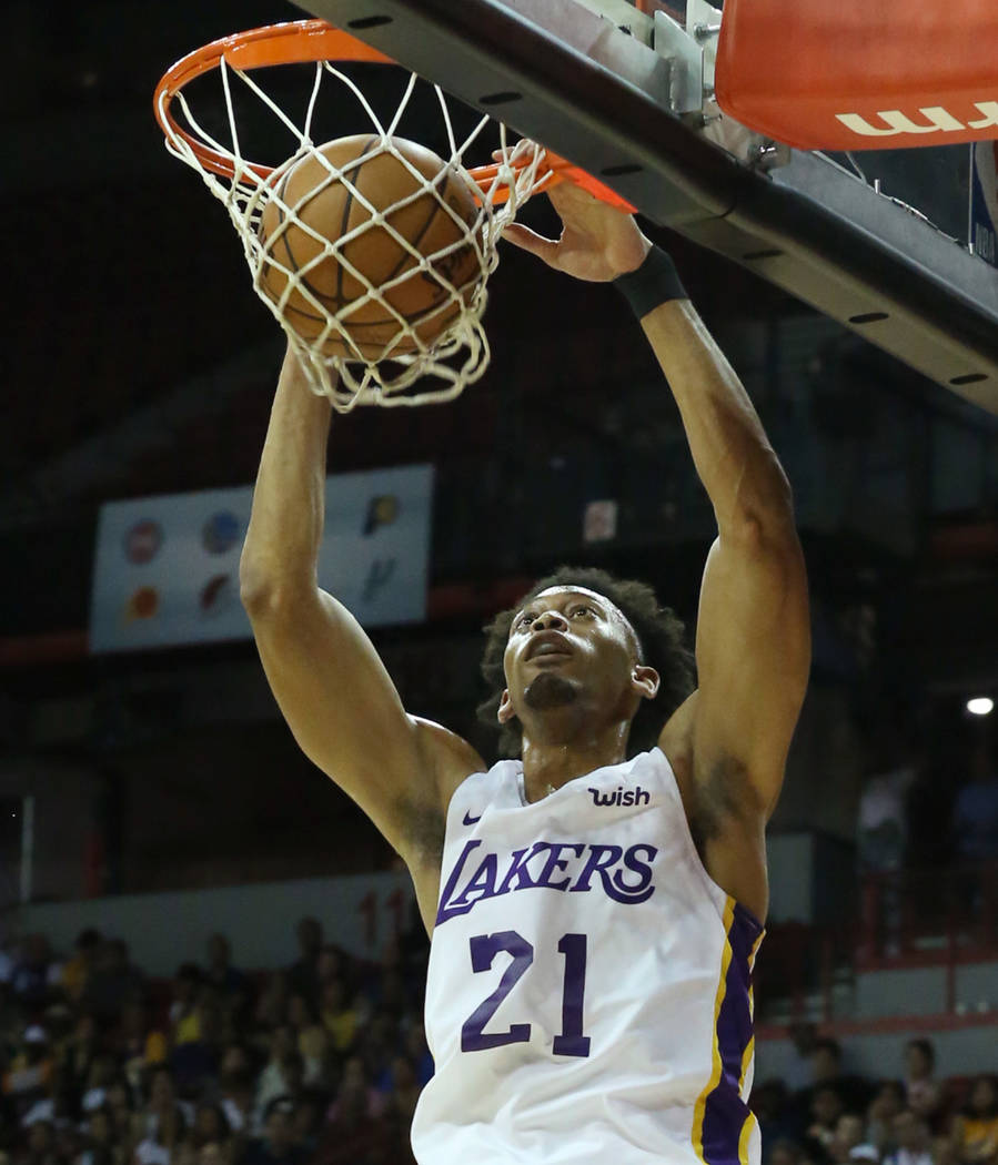 The Los Angeles Lakers forward Jonathan Williams dunks against the Detroit pistons during an NBA Summer League basketball game at the Thomas and Mack Center on Sunday, July 15, 2018, in Las Vegas. ...