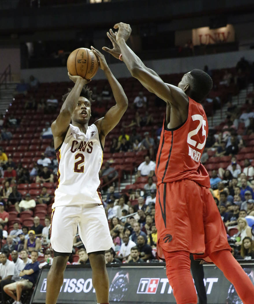 The Cleveland Cavaliers guard Collin Sexton (2) shoots over the Toronto Raptors forward Chris Boucher (25) during an NBA Summer League basketball game at the Thomas and Mack Center on Sunday, July ...