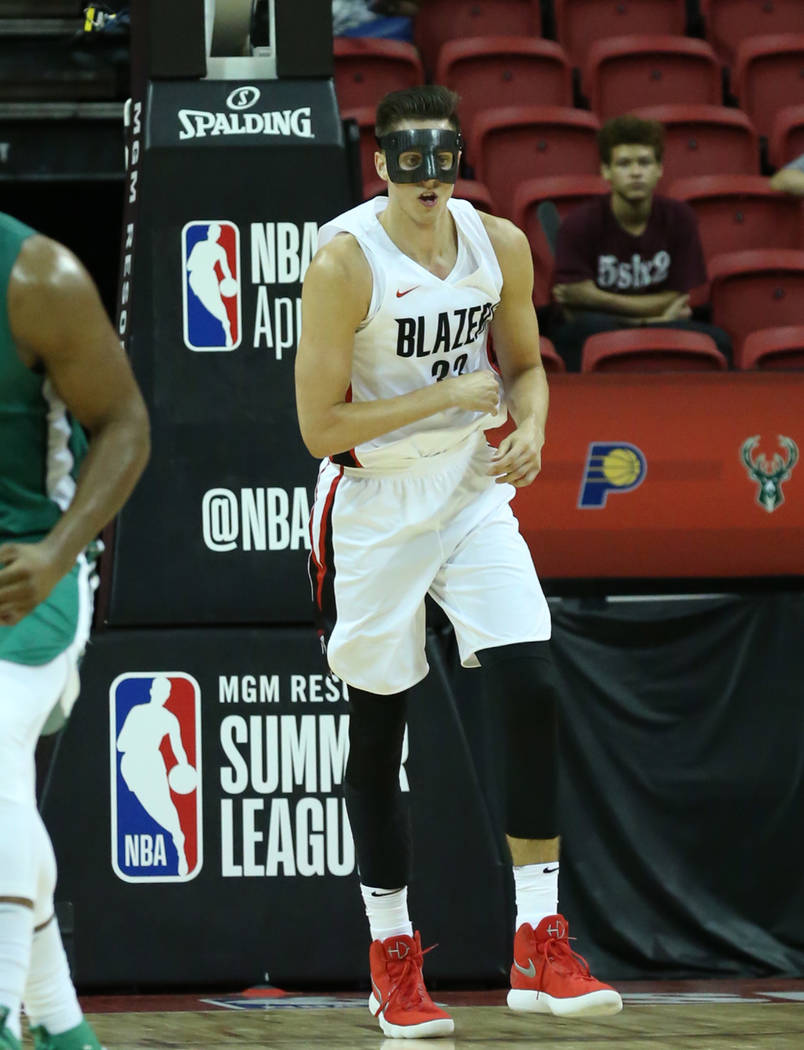The Portland Trail Blazers center Zach Collins (33) runs the court during an NBA Summer League basketball game against the Boston Celtics at the Thomas and Mack Center on Sunday, July 15, 2018, in ...