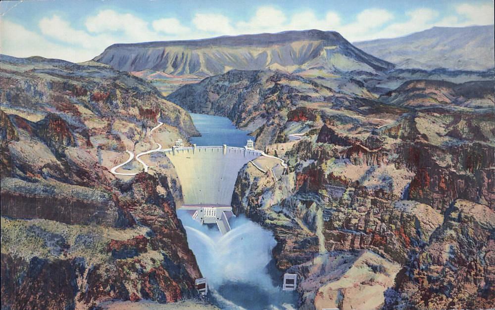 Postcard showing Hoover Dam, circa 1930s-1940s Boulder Dam Service Bureau Original Collection Manis Collection