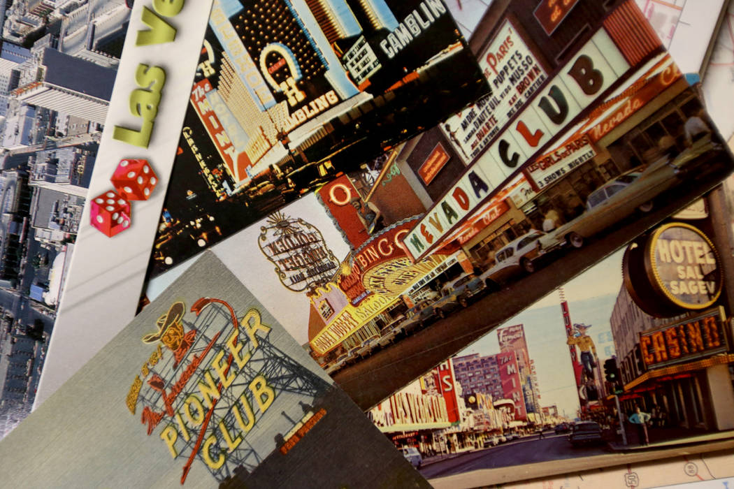 Old postcards of Las Vegas at the Clark County Museum in Henderson on Monday, June 25, 2018. Hall-Patton is the Museum Administrator for the Clark County Museum system. Rachel Aston Las Vegas Revi ...