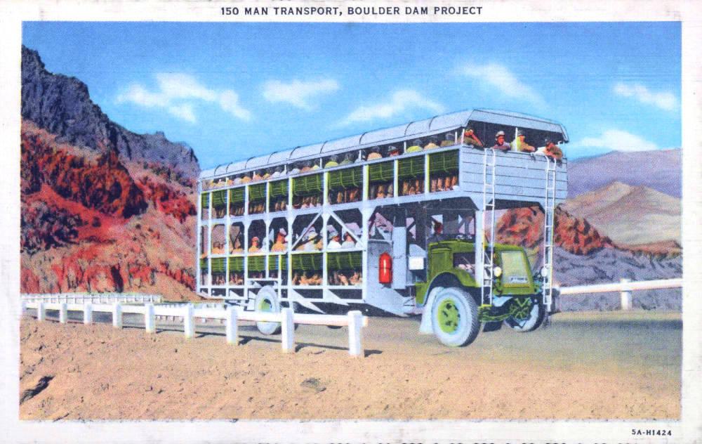 Postcard showing a 150 man transport for the Boulder Dam Project, Hoover Dam, circa 1930s Group Creator Boulder Dam Service Bureau